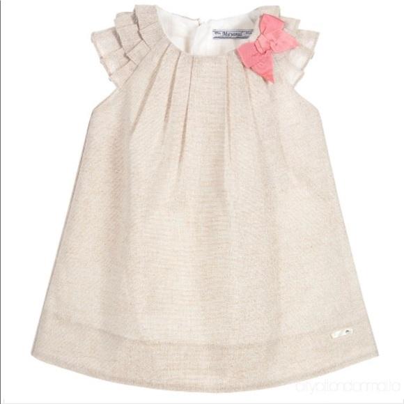 03af06e46ea5 Mayoral Dresses | Baby Girls Beige Metallic Dress Nwt | Poshmark